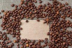 Пустая карточка с кофейными зернами Стоковая Фотография RF