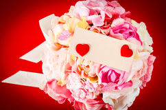 Пустая карточка с розой пинка букета Стоковые Фотографии RF