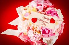 Пустая карточка с розой пинка букета Стоковые Изображения