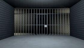 Пустая клетка тюрьмы смотря вне Стоковая Фотография RF