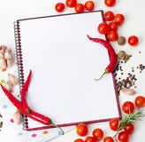 Пустая книга готовая для рецептов Стоковое фото RF