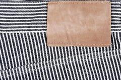 пустая кожа ярлыка джинсыов Стоковая Фотография