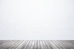 Пустая комната белого пола стены и древесины Стоковые Фото