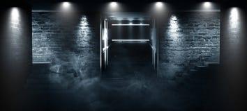 Пустая комната, лестницы вверх, лифт, дым, смог, неоновые света, фонарики Ð¯Ð·Ñ ‹Ñ ² Ñ ‡ ÐΜÐ ÑŽÑ ‹Ðº кл… Ñ ² ¾ Ð Ð  л: Англий стоковое изображение