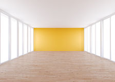 Пустая комната, оранжевая стена Стоковые Изображения