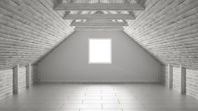 Пустая комната, просторная квартира мезонина, дизайн интерьера архитектуры крыши бесплатная иллюстрация