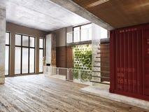 Пустая комната резиденции с предсердием стоковое фото rf