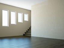 Пустая комната с окном лестницы Стоковые Изображения RF