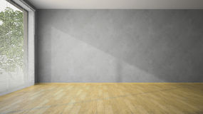 Пустая комната с серыми стенами и партером