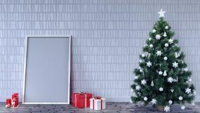 Пустая комната с украшением рождества иллюстрация штока