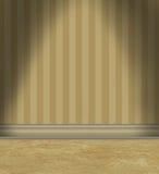 Пустая комната с Tan Striped обои иллюстрация штока