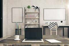 Пустая компьтер-книжка в современной комнате Стоковое Фото