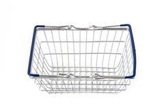 Пустая корзина для товаров металла с голубыми ручками Стоковые Фотографии RF