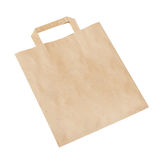 Пустая коричневая бумажная сумка изолированная на белизне Стоковые Изображения RF