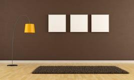 Пустая коричневая живущая комната иллюстрация вектора