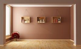 Пустая коричневая живущая комната Стоковое Изображение