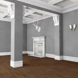 Пустая классическая комната с камином иллюстрация вектора