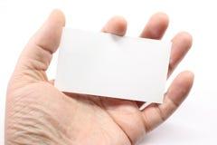 пустая ладонь визитной карточки стоковое изображение