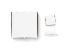 Пустая насмешка дизайна коробки пиццы вверх установила изолированный Коробка упаковывая pi Стоковое фото RF