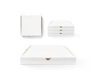 Пустая насмешка дизайна коробки пиццы вверх установила изолированный Коробка упаковывая pi Стоковые Фото