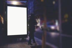 Пустая насмешка рекламы вверх по знамени в столичном городе в вечере Стоковые Изображения RF
