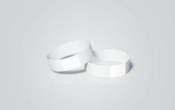 Пустая насмешка wristbands белой бумаги поднимает, перевод 3d иллюстрация вектора