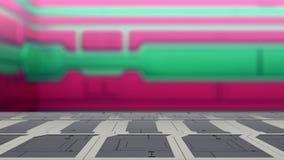 Пустая платформа космоса стола с иллюстрацией предпосылки 3d научной фантастики нерезкости иллюстрация вектора