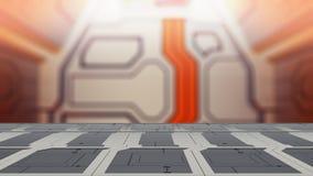 Пустая платформа космоса стола с иллюстрацией предпосылки 3d научной фантастики нерезкости бесплатная иллюстрация