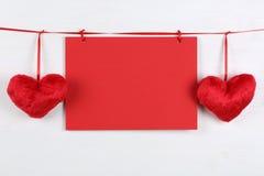 Пустая поздравительная открытка на дне рождения, валентинке или острословии Дня матери Стоковые Изображения RF