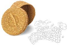 Пустая плетеная корзина плодоовощ на белой предпосылке Стоковые Фотографии RF