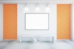 Пустая рамка в оранжевой комнате Стоковое фото RF