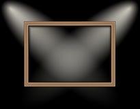 Пустая рамка на фарах покрашенных освещения стены иллюстрация вектора