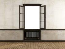 Пустая ретро комната с открытым окном бесплатная иллюстрация