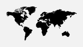 Пустая серая карта мира изолированная на белой предпосылке Стоковые Фотографии RF
