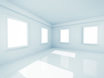 Пустая современная комната с Windows Стоковые Изображения