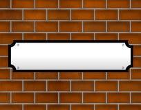 пустая стена улицы знака кирпича Стоковые Изображения
