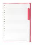 Пустая страница красной спиральной тетради Стоковые Фото