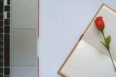 Пустая страница с компьтер-книжкой красной розы и компьютера стоковое изображение