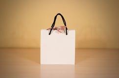 Пустая сумка подарка белой бумаги при насмешка смычка вверх стоя на древесине Стоковое Изображение RF