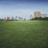 Пустая сцена поля зеленой травы и города офисного здания Стоковое фото RF