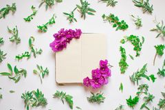 Пустая тетрадь украсила пурпурные цветки на белой предпосылке, взгляде сверху Блокнот украшенный с зелеными листьями и фиолетом r иллюстрация штока