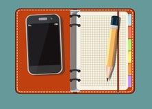 Пустая тетрадь, умный телефон иллюстрация вектора