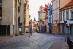 Пустая улица в Вильнюсе Стоковые Фотографии RF