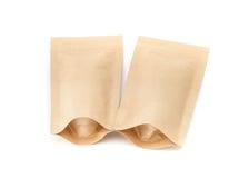 Пустая упаковка рециркулирует мешок бумаги kraft изолированный на белизне Стоковое Изображение RF