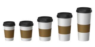 Пустая устранимая чашка с бумагой доказательства крышки и жары, дополнительный, малый, средств, большой Стоковые Фото