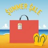 Пустая хозяйственная сумка на предпосылке пляжа и моря в концепции продажи лета вектор Стоковые Фото