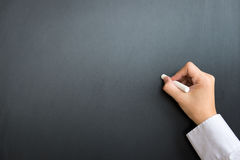 Пустая черная доска с рукой и мелом стоковое изображение
