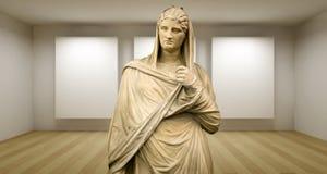 Дама, пустая штольн, комната 3d с греческим sculture, стародедовской статуей стоковая фотография