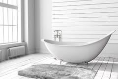 Пустая яркая ванная комната Стоковые Изображения