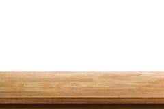 Пустое верхнее деревянного стола изолированное на белой предпосылке стоковые фотографии rf
